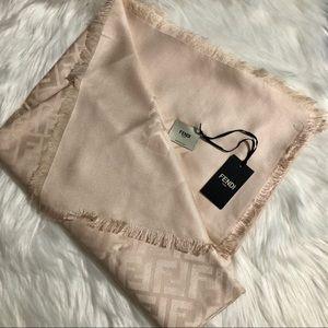 4b74f724e3 Fendi Women's FF Pink Silk and Wool Shawl Scarf Boutique